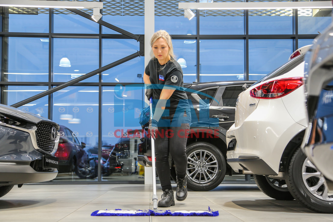 Cleaning dealership forecourt
